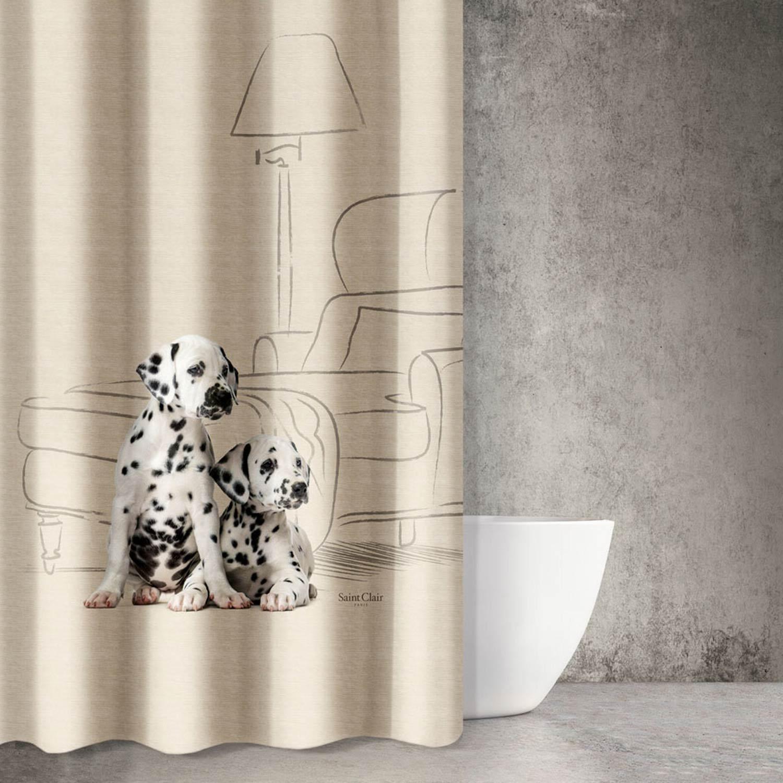 Κουρτίνα Μπάνιου Animals Des 202 Beige – White Saint Clair 180x200cm Φάρδος 180cm 180x200cm