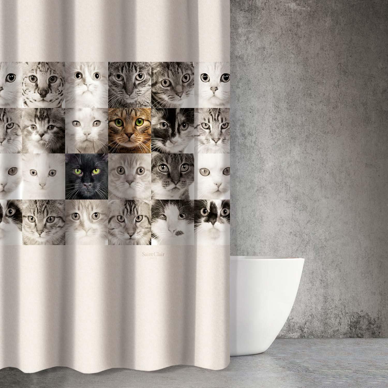 Κουρτίνα Μπάνιου Animals Des 212 Multi Saint Clair 180x200cm Φάρδος 180cm 180x200cm