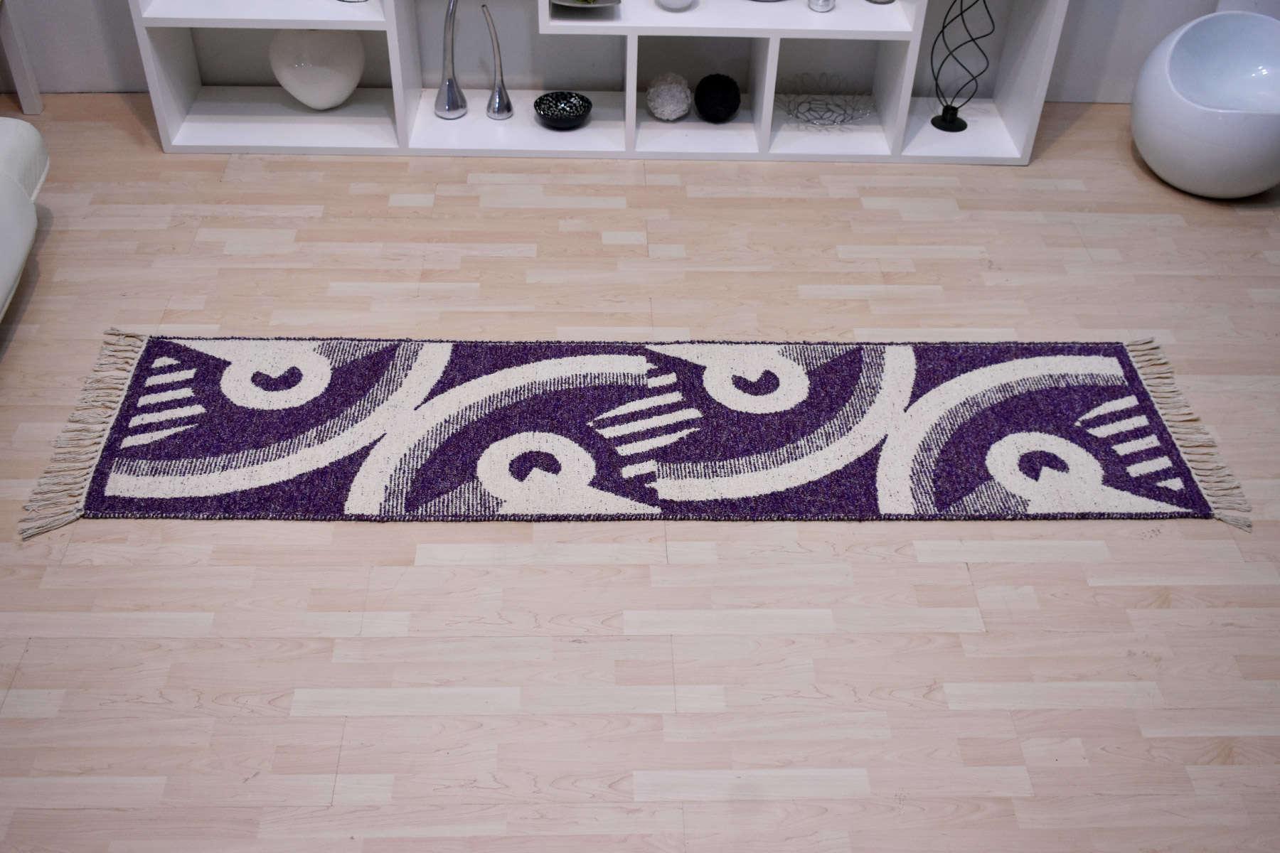 Χαλί Κουρελού Βαμβακερή Purple-Beige 70X220