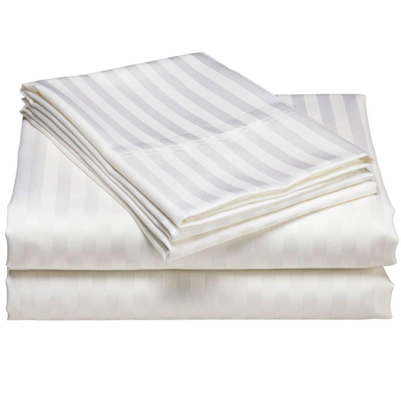Σεντόνι Ξενοδοχείου Σατέν Με Ρίγα White 100% Cotton Satin 240TC Ημίδιπλο 160x260cm