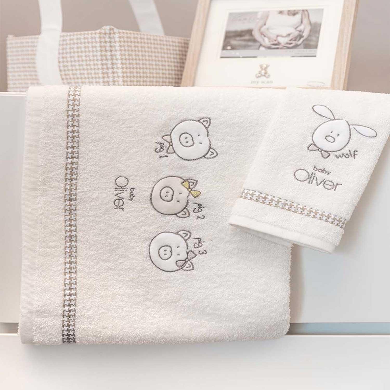 Βρεφικές Πετσέτες Σετ 2τεμ Des. 305 Mr. Wolf & Co. Beige Baby Oliver Σετ Πετσέτες 30x50cm