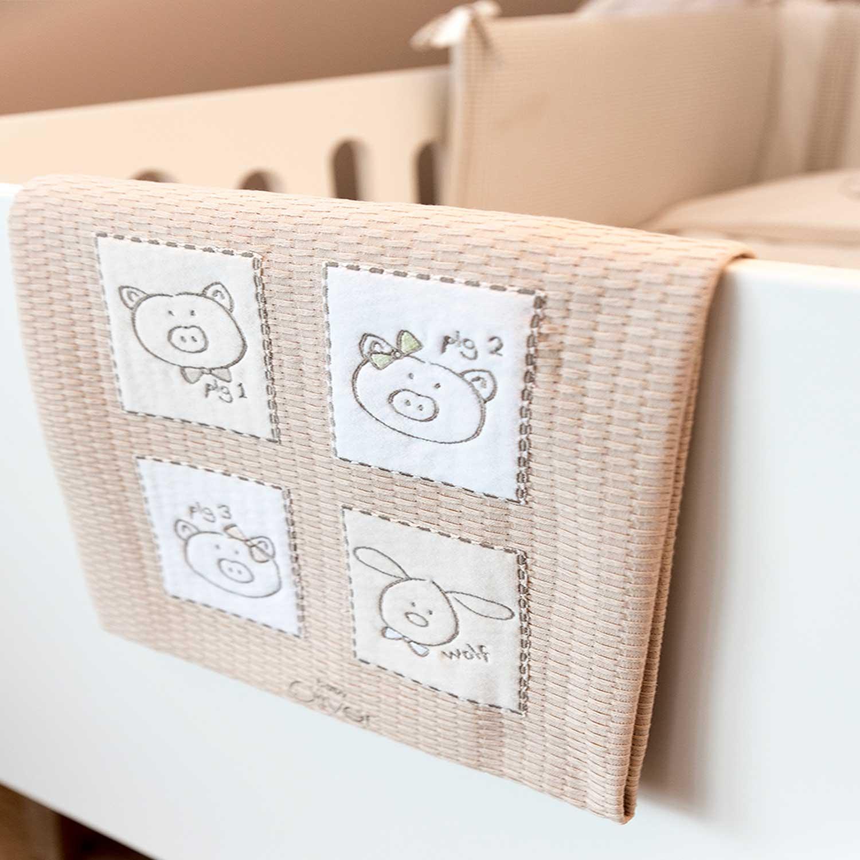 Κουβέρτα Βρεφική Πικέ Des. 305 Mr. Wolf & Co. Beige Baby Oliver Κούνιας 100x140cm
