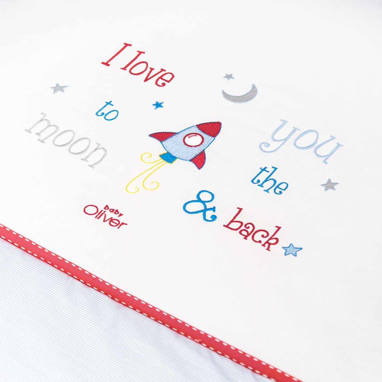 Σεντόνια Σετ 3τμχ Des. 306 To The Moon And Back White-Ciel Baby Oliver Κούνιας 110x160cm
