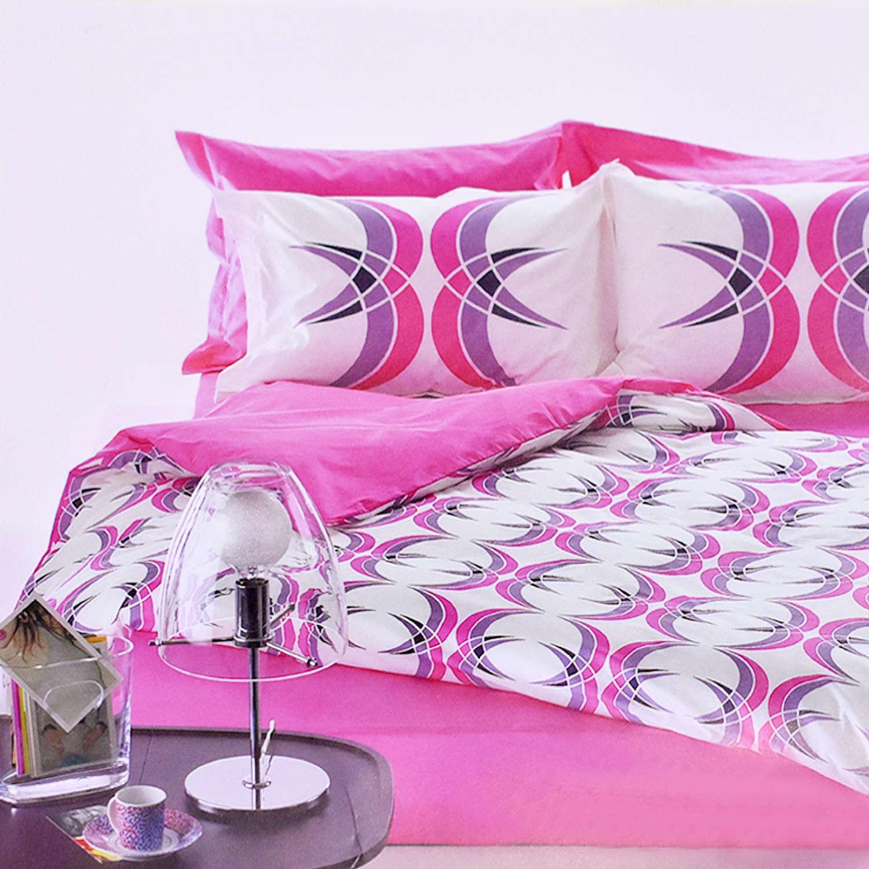 Κουβερλί Σετ 3τμχ. Disco White-Pink Kentia Υπέρδιπλo 220x240cm