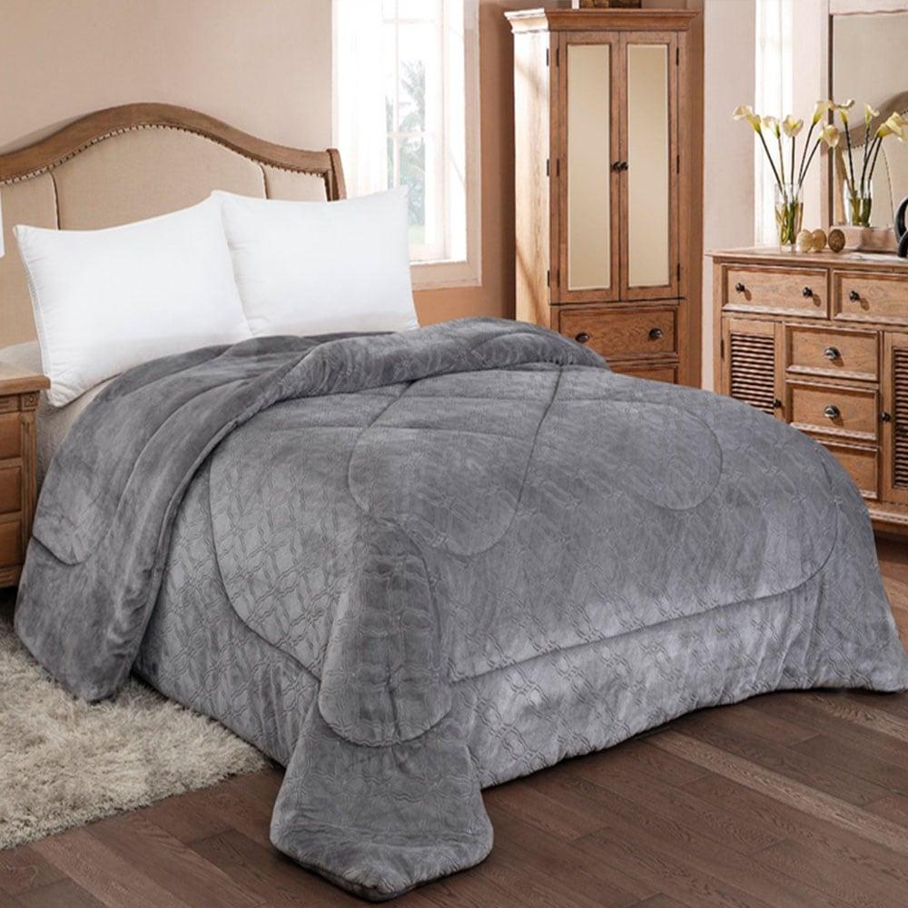 Κουβερτοπάπλωμα Ανάγλυφo Flannel 810 Grey Adam Home Μονό 160x240cm