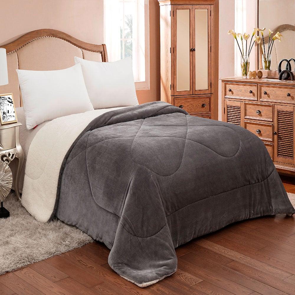 Κουβερτοπάπλωμα Flannel-Sherpa 809 Grey Adam Home Υπέρδιπλo 220x240cm