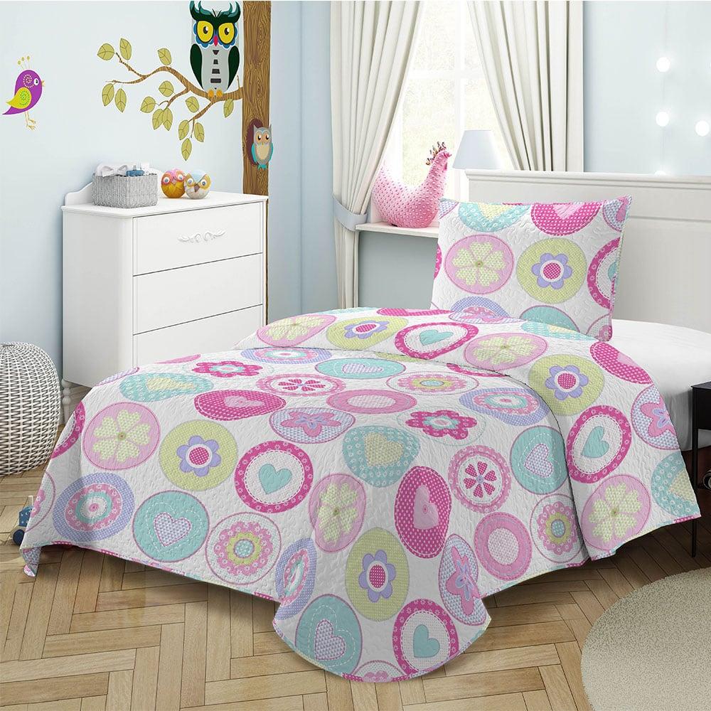 Κουβερλί Παιδικό Σετ 2τμχ Pink/White 8010 Adam Home Μονό