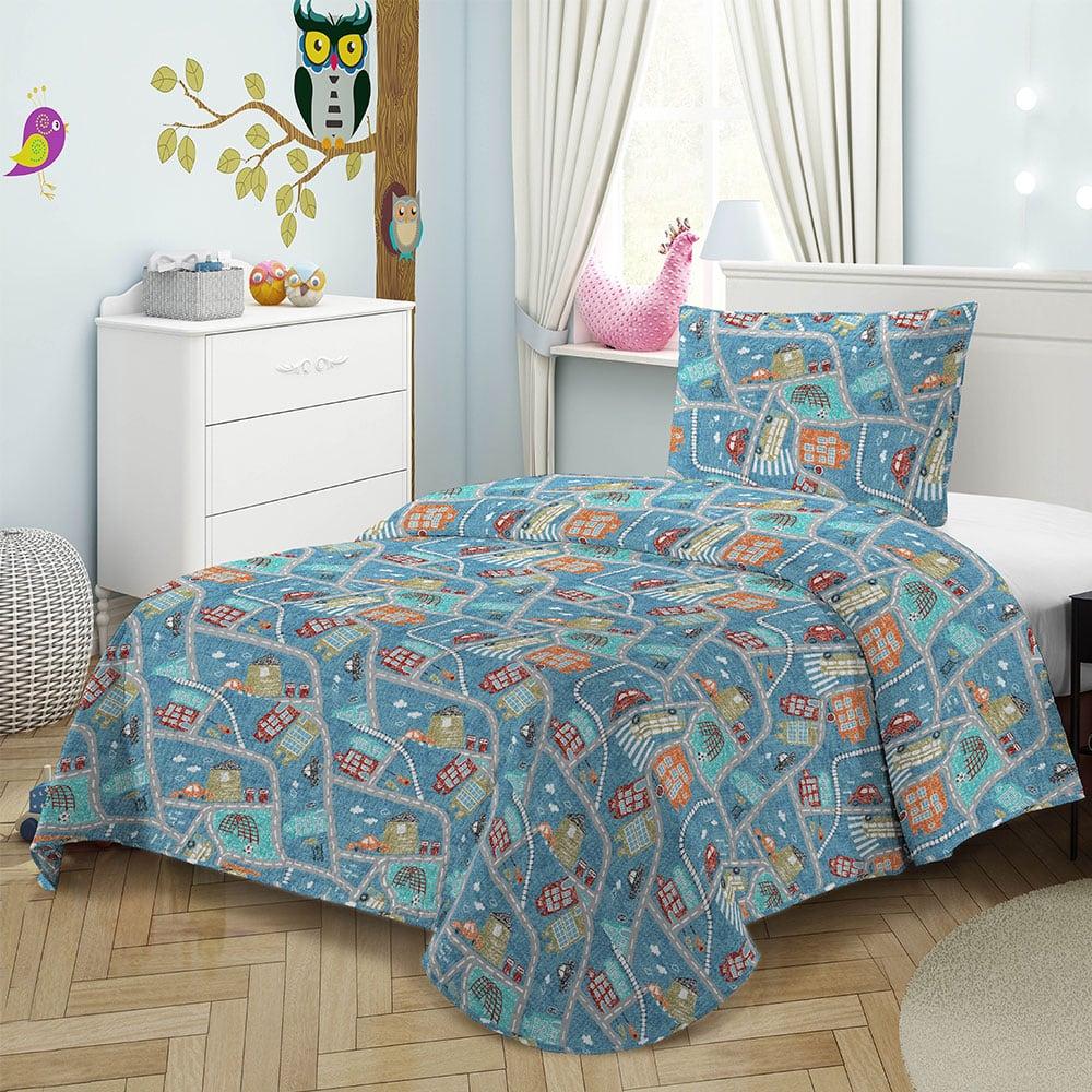 Κουβερλί Παιδικό Σετ 2τμχ 8040 Blue Adam Home Μονό