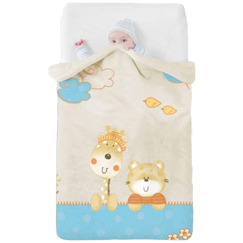 Κουβέρτα Βρεφική Baby Oceanis c08 Beige- Blue Manterol Κούνιας 110x140cm