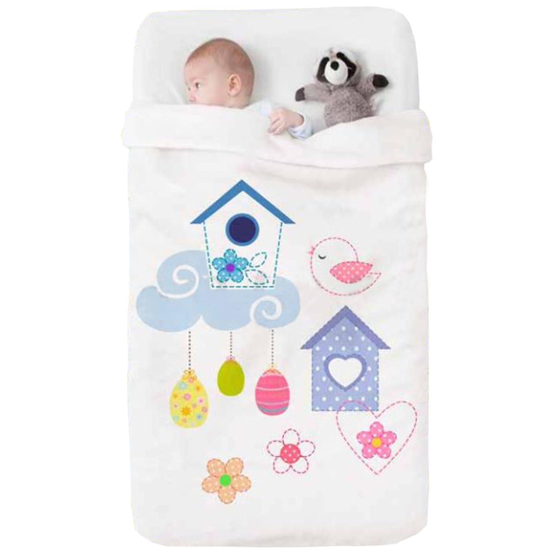Κουβέρτα Βρεφική Baby Happy 710 White – Purple Manterol Κούνιας 110x140cm