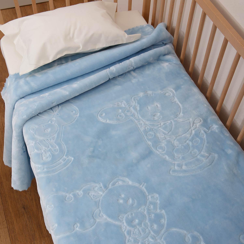 Κουβέρτα Ανάγλυφη Bear Sky Blue Anna Riska Κούνιας 110x140cm