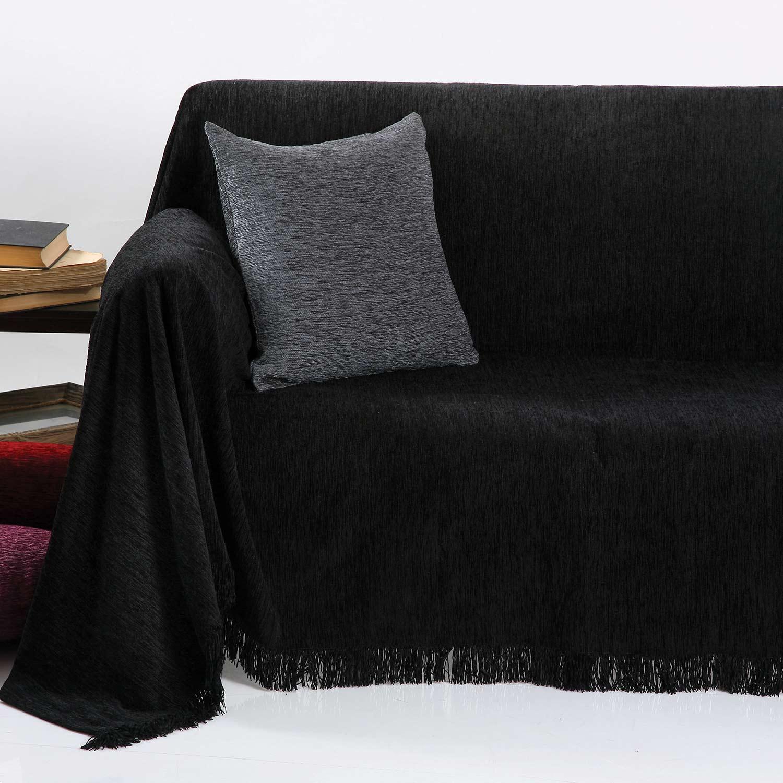 Ριχτάρι Ζακάρ Σενίλ 1300 Black Anna Riska Πολυθρόνα 180x150cm