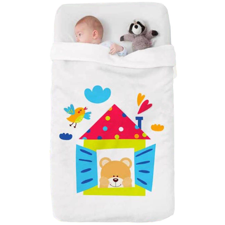 Κουβέρτα Βρεφική Baby Happy 712 White – Multi Manterol Κούνιας 110x140cm