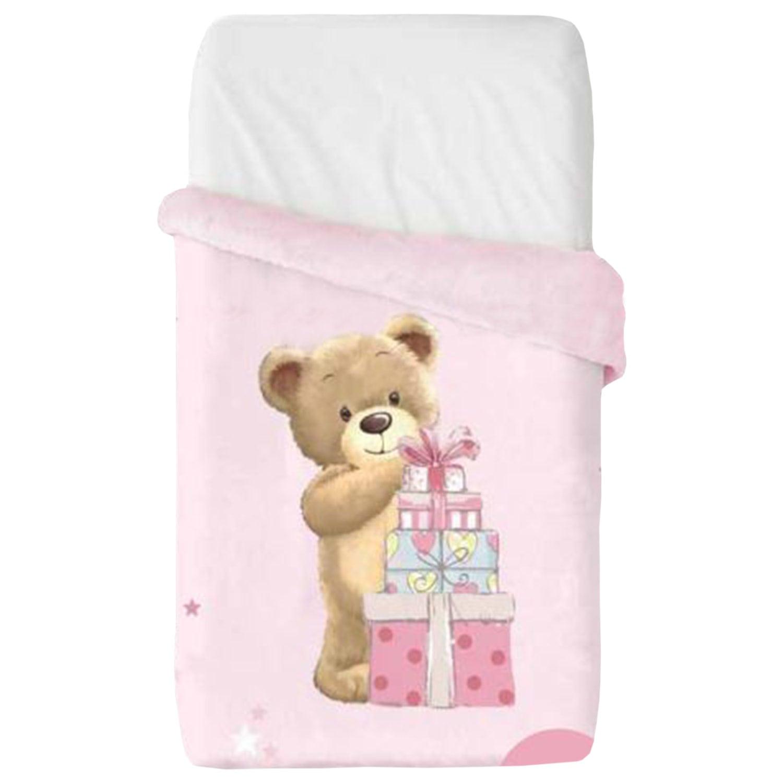 Κουβέρτα Βρεφική Baby VIP 521 c04 Pink Manterol ΑΓΚΑΛΙΑΣ 75x100cm