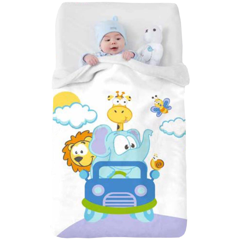 Κουβέρτα Βρεφική Baby VIP 520 c08 White-Blue Manterol Κούνιας 110x140cm
