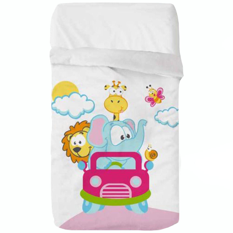 Κουβέρτα Βρεφική Baby VIP 520 c04 White-Pink Manterol Κούνιας 110x140cm