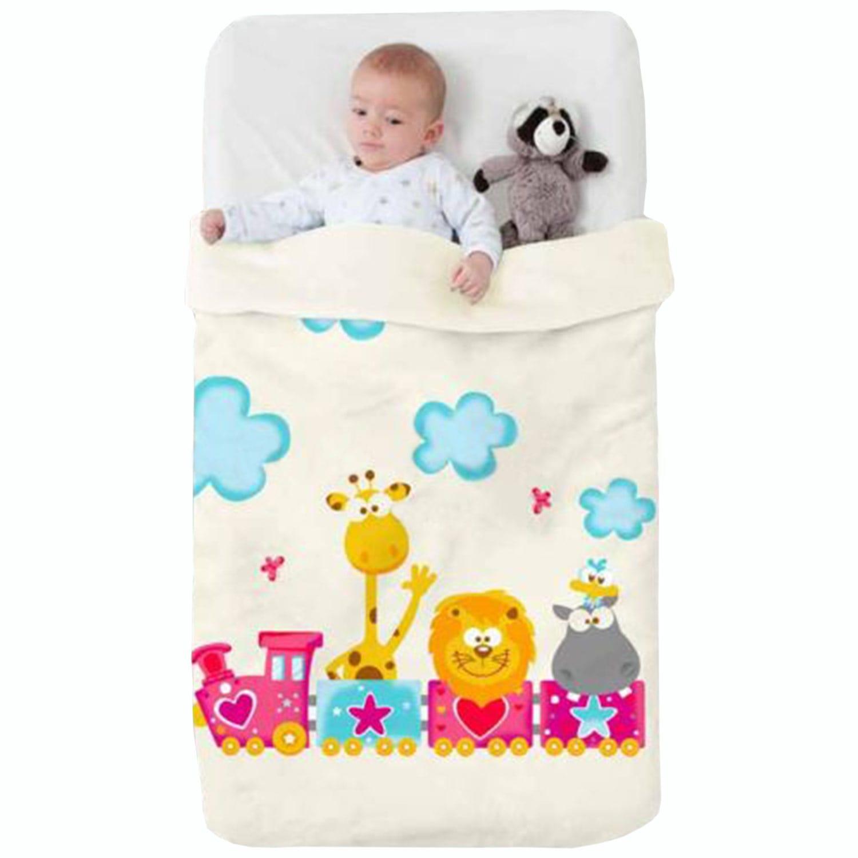 Κουβέρτα Βρεφική Baby VIP 522 c15 White-Multi Manterol Κούνιας 110x140cm
