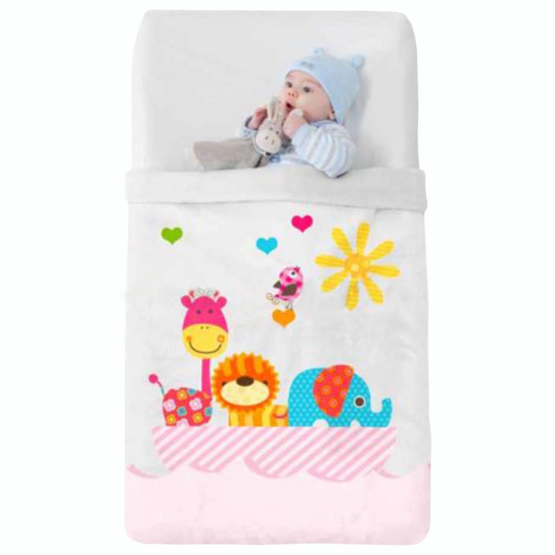 Κουβέρτα Βρεφική Baby VIP 516 c04 White-PinkManterol Κούνιας 110x140cm