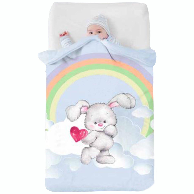 Κουβέρτα Βρεφική Baby VIP 517 c08 White-Ciel Manterol Κούνιας 110x140cm
