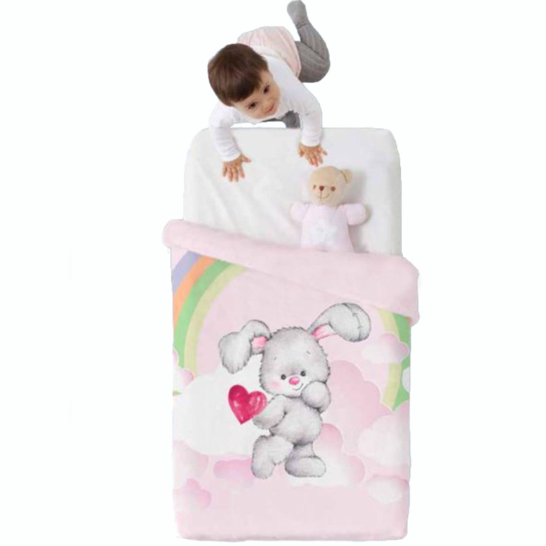 Κουβέρτα Βρεφική Baby VIP 517 c04 White-Pink Manterol Κούνιας 110x140cm
