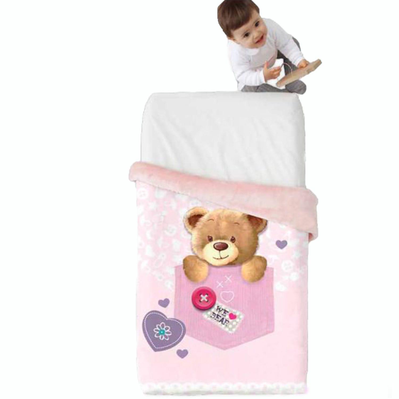 Κουβέρτα Βρεφική Baby VIP 519 c04 Pink Manterol Κούνιας 110x140cm