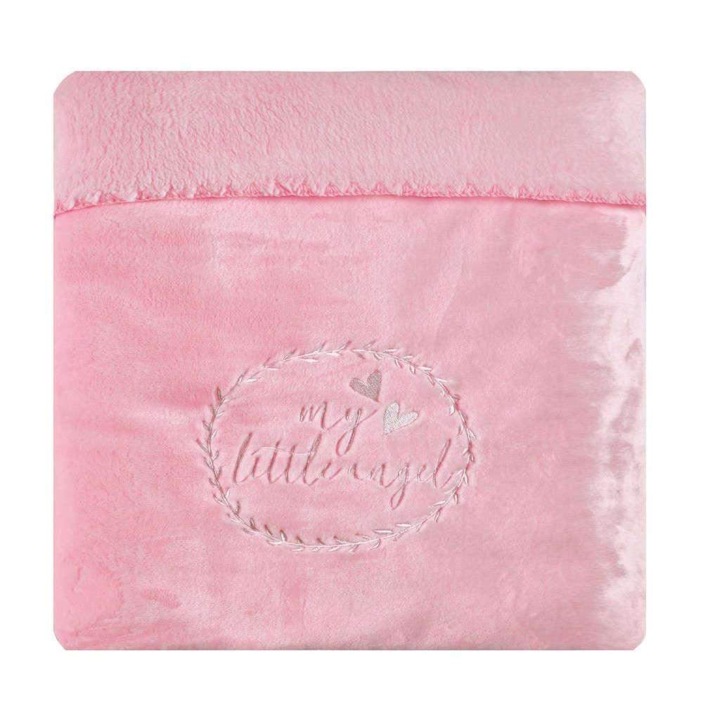Κουβέρτα Βρεφική Κούνιας Angel Velour Fleece Light Pink-Ecru Kentia Κούνιας 110x140cm