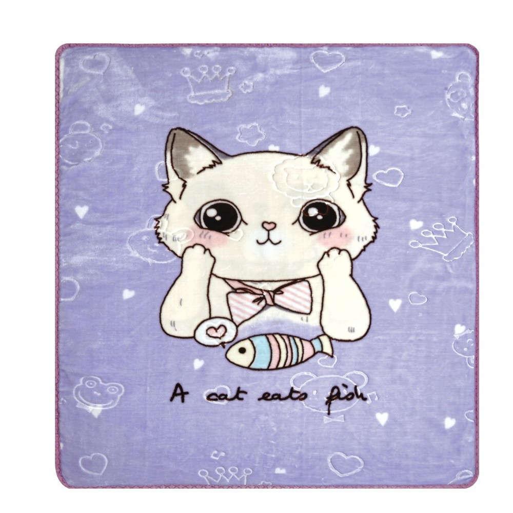 Κουβέρτα Βρεφική Κούνιας Cat Βελουτέ Lilac Kentia Κούνιας 100x130cm