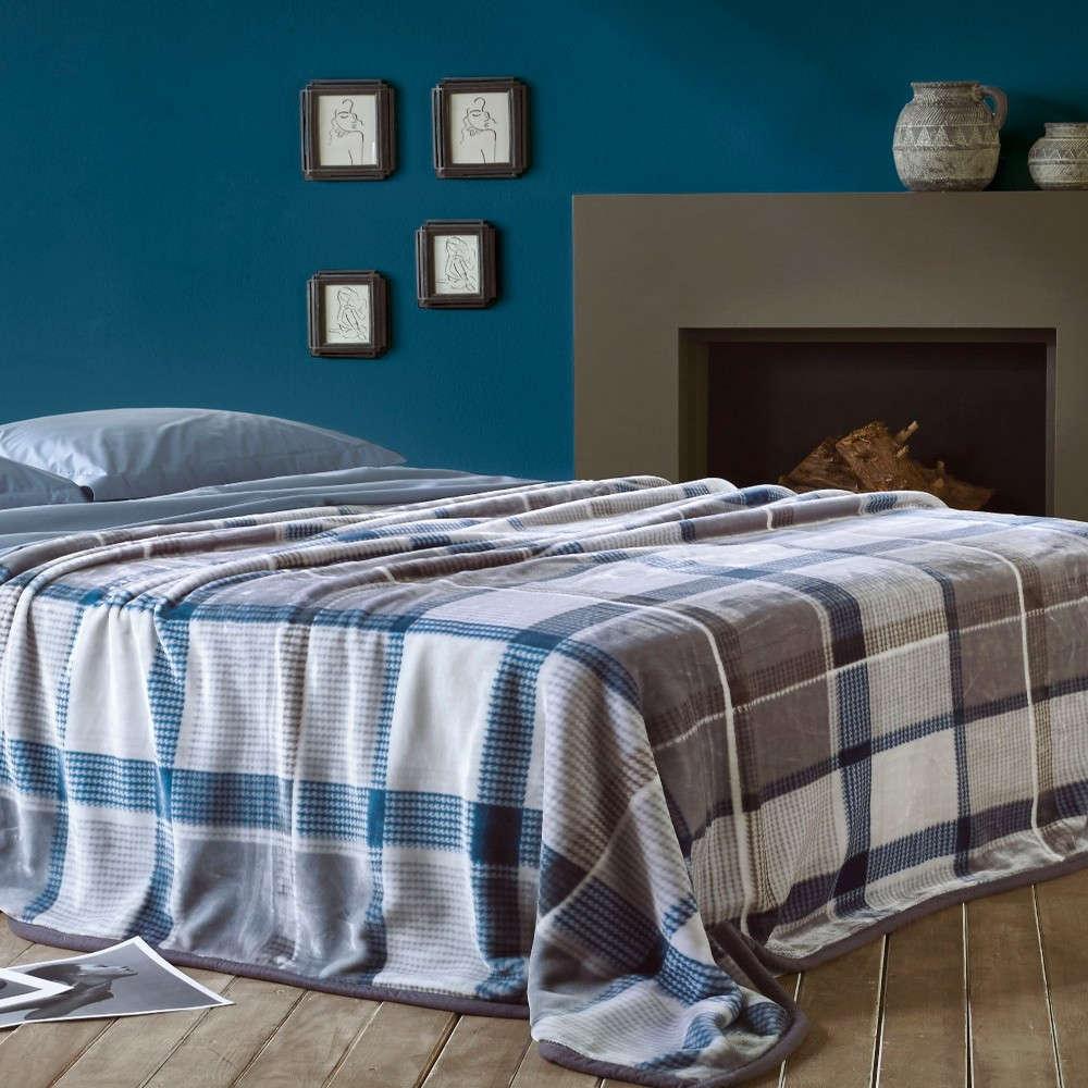Κουβέρτα Fortuna Blue-Grey Kentia Μονό 160x240cm