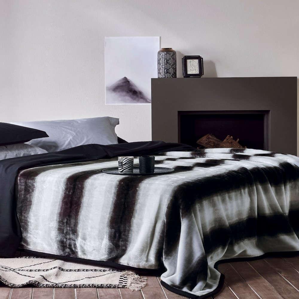 Κουβέρτα Melia Black-White Kentia Ημίδιπλο 180x240cm
