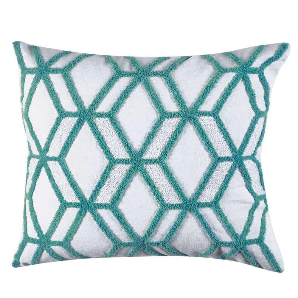 Μαξιλαροθήκη Διακοσμητική Decore 204 White-Green Kentia 50X50 Βαμβάκι-Polyester