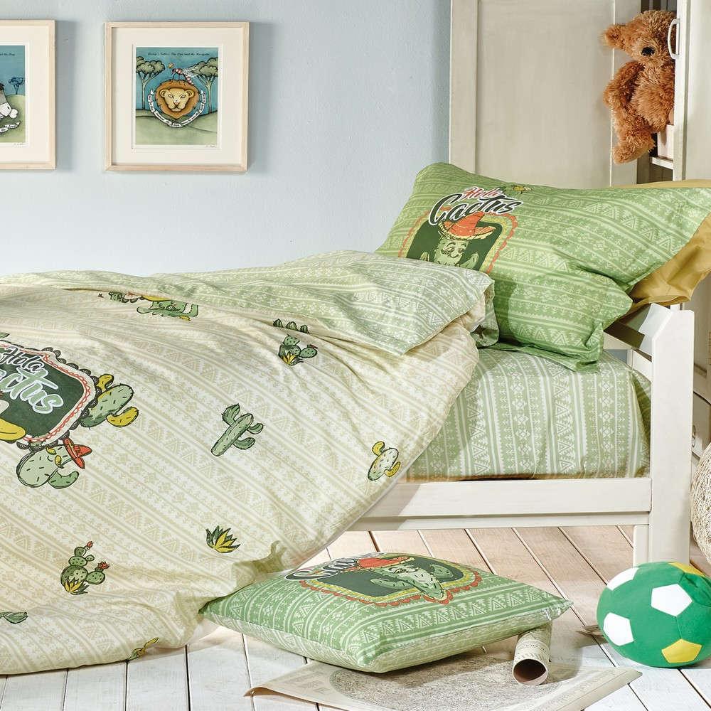 Πάπλωμα Παιδικό Σετ 3Τμχ Cactus Mint Green-Olive Green Kentia Μονό 160x240cm