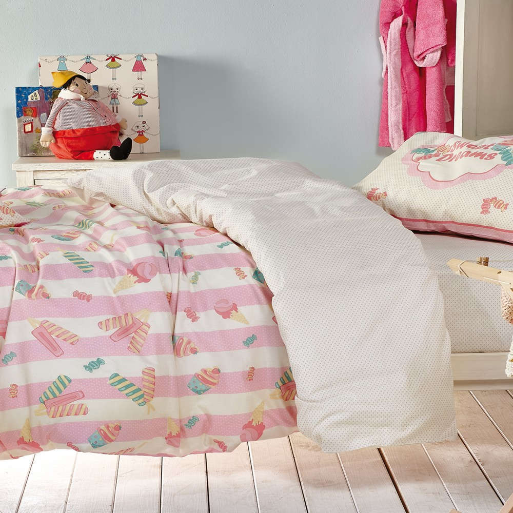 Πάπλωμα Παιδικό Σετ 3Τμχ Candybar Ecru-Baby Pink-Turquoise Kentia Μονό 160x240cm