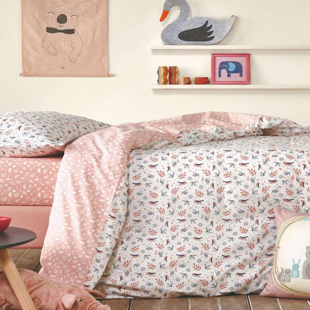 Παπλωματοθήκη Βρεφική Κούνιας Σετ 2Τμχ Caliana Salmon Pink-Light Grey Kentia 100x140cm