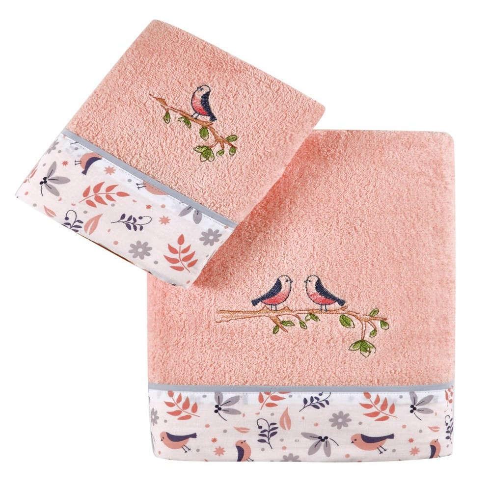Πετσέτες Βρεφικές Σετ 2Τμχ Caliana Salmon Pink-Light Grey Kentia Σετ Πετσέτες