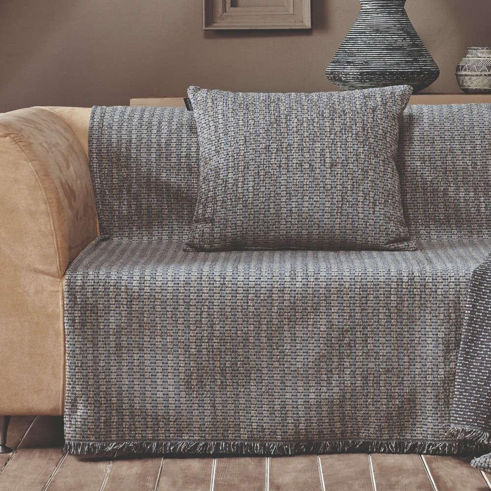 Ριχτάρι Brooks 22 Ecru-Light Grey Kentia Τριθέσιο 180x300cm