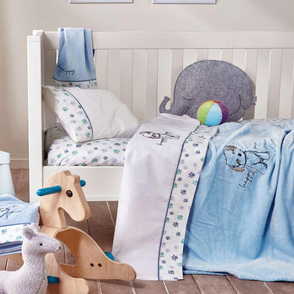 Σεντόνι Βρεφικό Κούνιας Terrie Σετ 3Τμχ White-Baby Blue Kentia Κούνιας 120x170cm