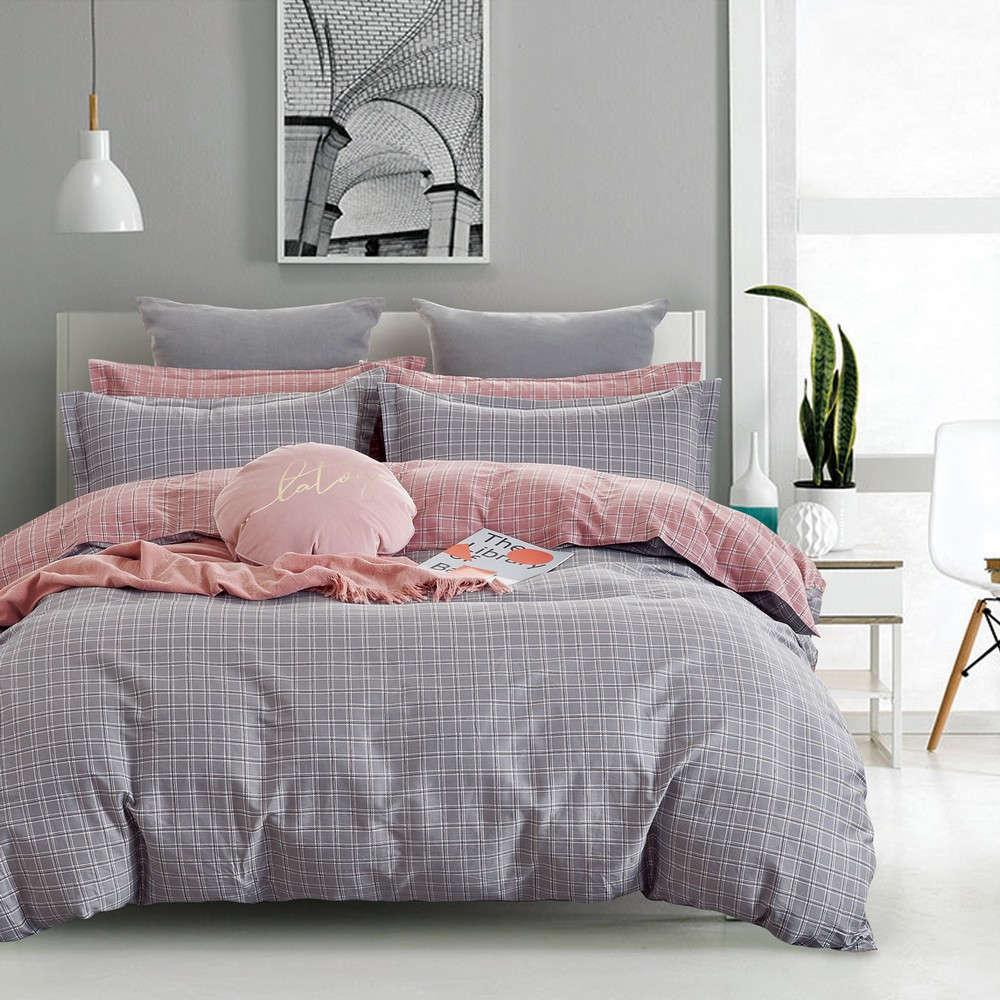 Πάπλωμα Σετ 3Τμχ 1327 Grey-Pink Homeline Υπέρδιπλo 220x240cm