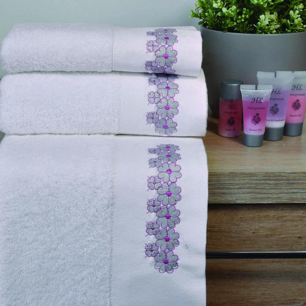 Πετσέτες Σετ 3Τμχ 2135 Powder Pink Homeline Σετ Πετσέτες