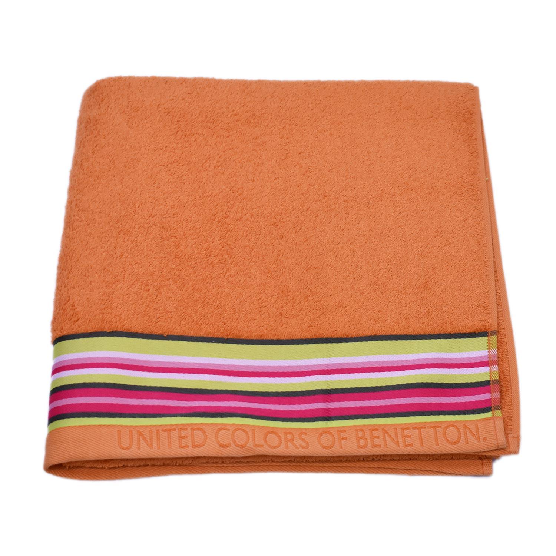 Πετσέτα Σώματος Candy Μονόχρωμη Με Ρίγα Orange Benetton Σώματος 70x140cm
