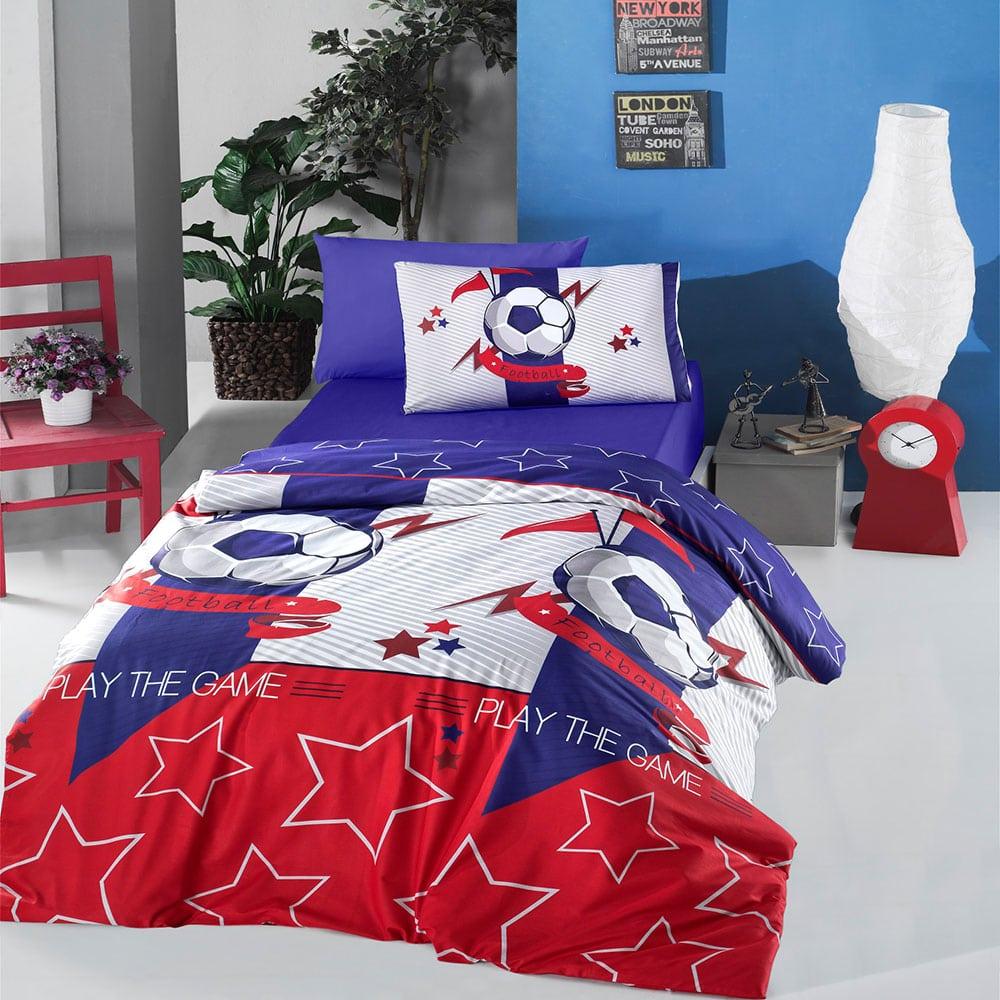 Σεντόνια Παιδικά Σετ 3τμχ Football Blue-Red Ρυθμός Μονό 160x240cm