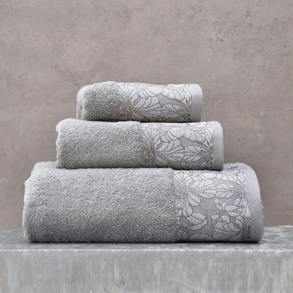 Πετσέτες Mallory Σετ 3τμχ Σε Κουτί Grey Ρυθμός Σετ Πετσέτες