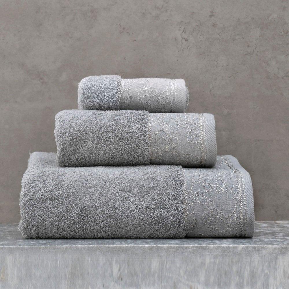 Πετσέτες Caresse Σετ 3τμχ Grey Ρυθμός Σετ Πετσέτες