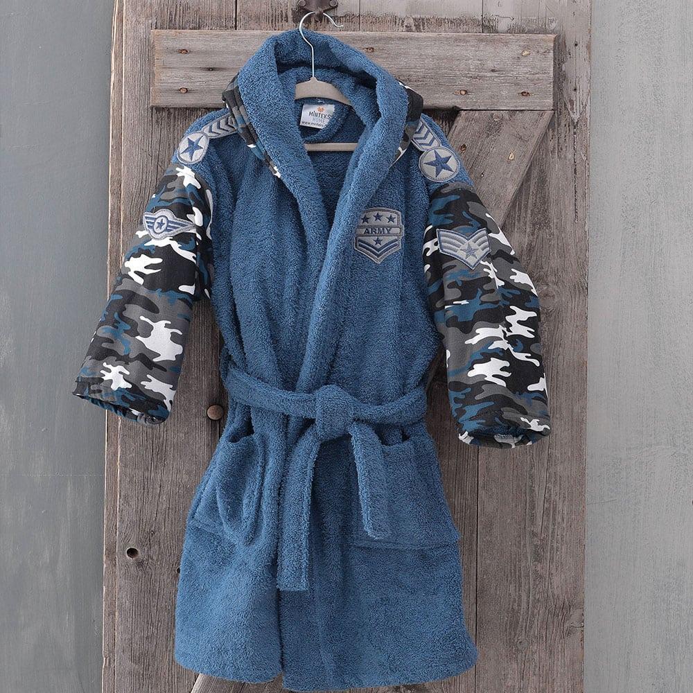Μπουρνούζι Παιδικό Με Κουκούλα Army Blue Ρυθμός 10-12 ετών
