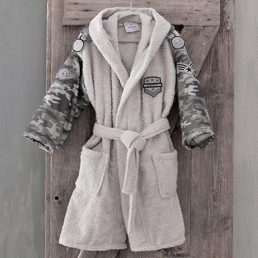 Μπουρνούζι Παιδικό Με Κουκούλα Army Grey Ρυθμός 6-8 ετών