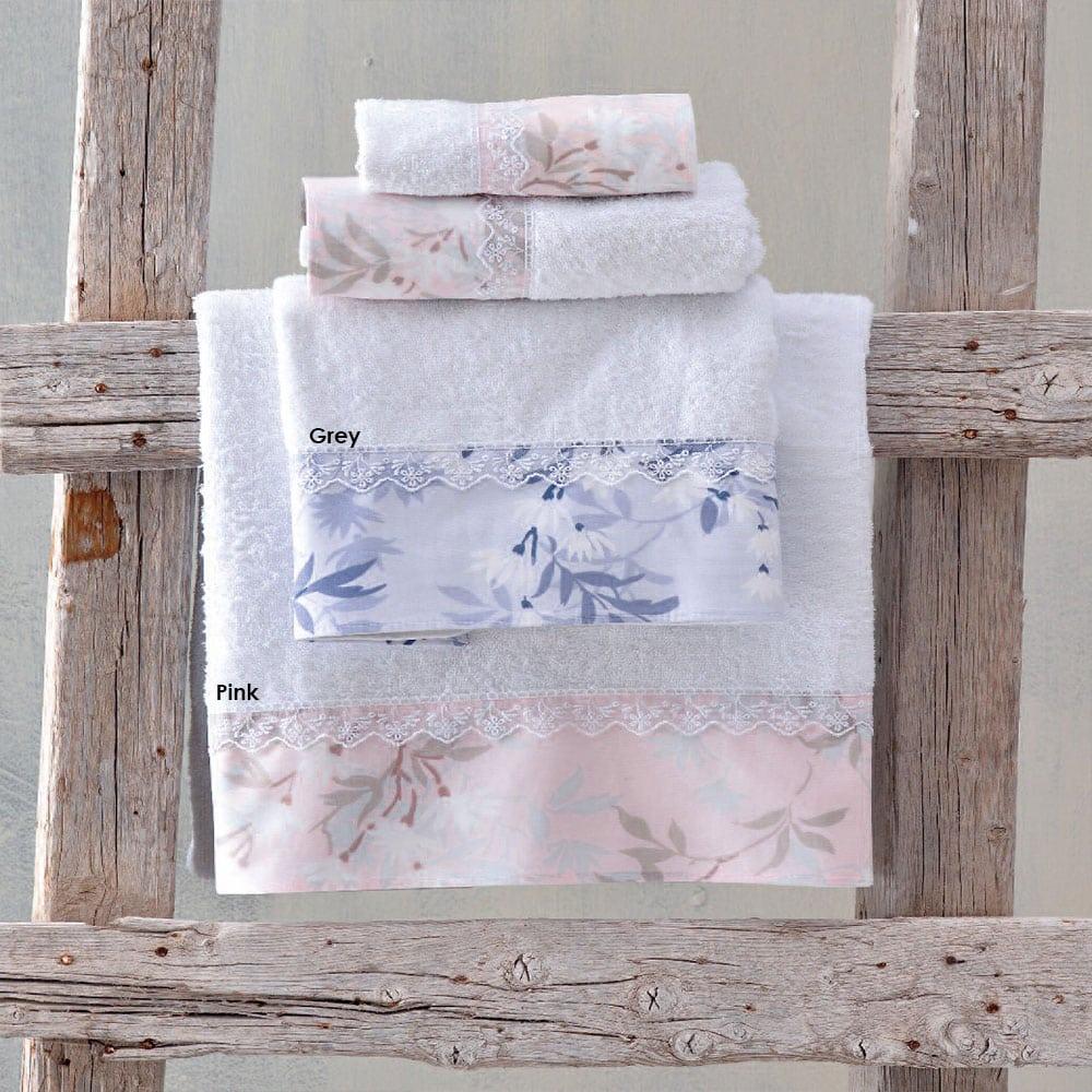 Πετσέτες Andes Σετ 3τμχ Σε Κουτί Grey Ρυθμός Σετ Πετσέτες