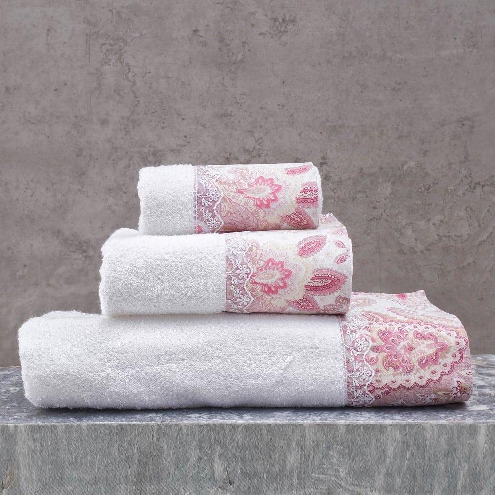 Πετσέτες Cassia Σετ 3τμχ White-Pink Ρυθμός Σετ Πετσέτες