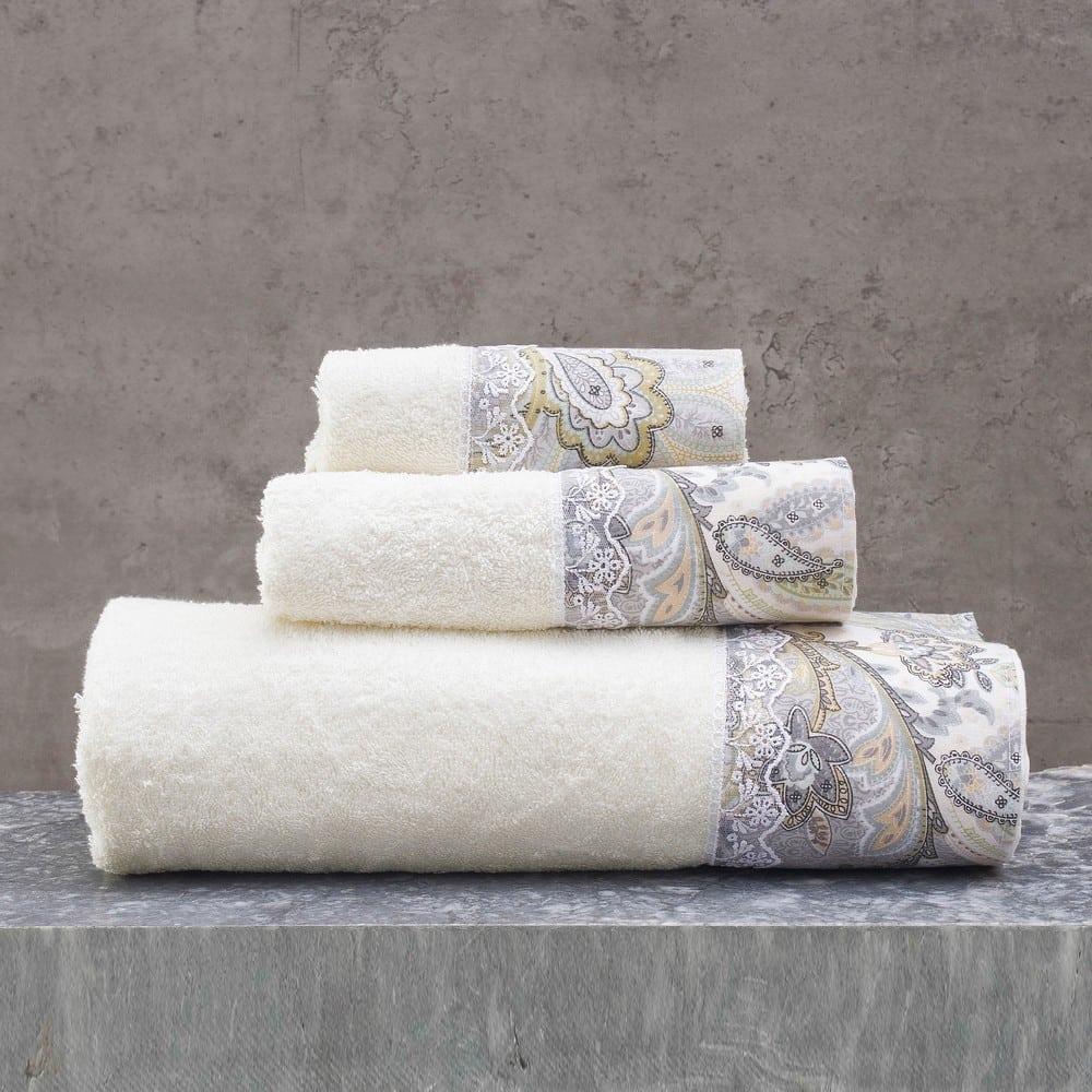 Πετσέτες Cassia Σετ 3τμχ Σε Κουτί Ecru-Grey Ρυθμός Σετ Πετσέτες
