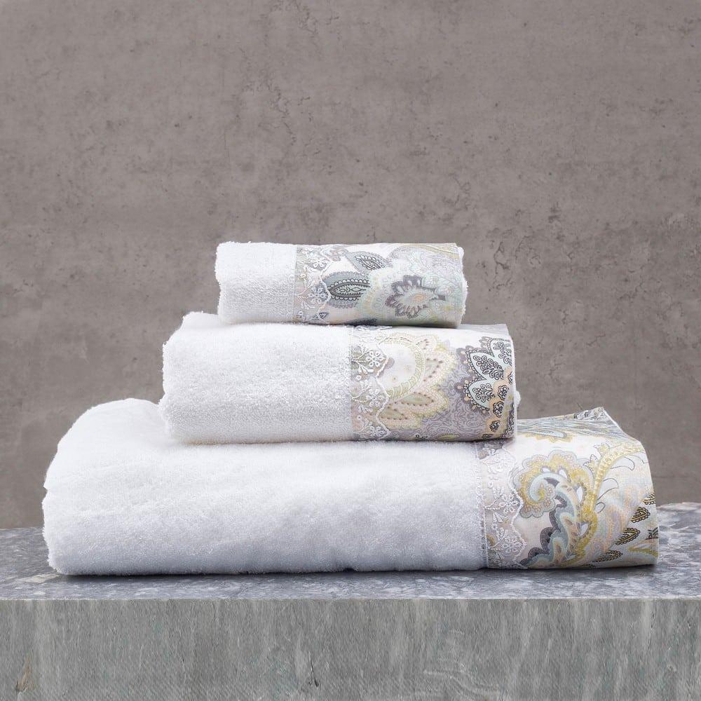 Πετσέτες Cassia Σετ 3τμχ Σε Κουτί White-Grey Ρυθμός Σετ Πετσέτες