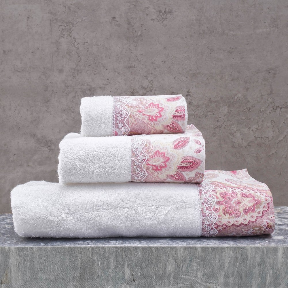 Πετσέτες Cassia Σετ 3τμχ Σε Κουτί White-Pink Ρυθμός Σετ Πετσέτες