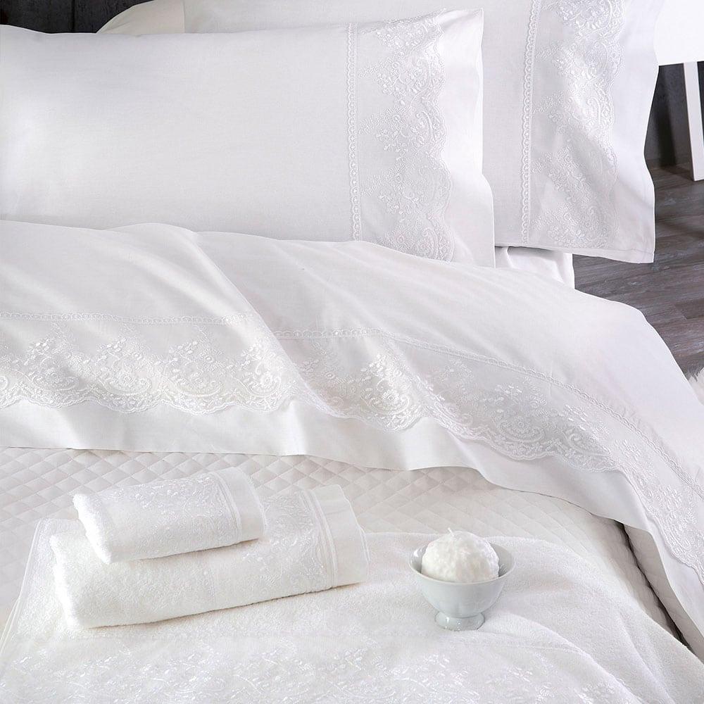 Πετσέτες Katherina Σετ 3τμχ White Ρυθμός Σετ Πετσέτες